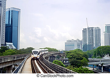 Kuala Lumpur - Cityscape with metro and high office...