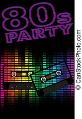 Retro Party Background - Retro Audio Cassette Tapes and...