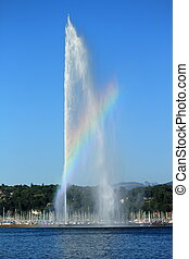 Water fountain on Geneva Lake, Geneva, Switzerland - A...