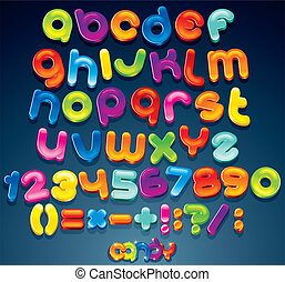 Fun Candy Font - Multicolored Shiny Vector Font, available...
