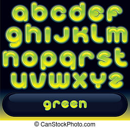 Fresh Green Font - Glowing Green Font, blurred vector...