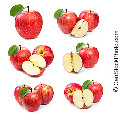 set with red apples