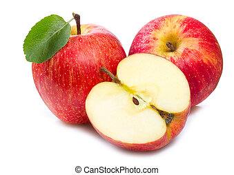 re apples - red apples with leaf on white background