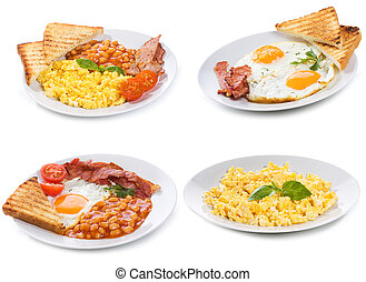set with plates of fried and scrambled eggs
