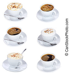 cups of coffee - set with cups of coffee on white background...