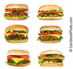 set with hamburgers on white background