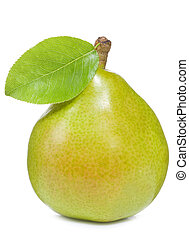 pear with leaf on wite background