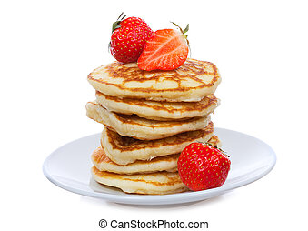pancakes with strawberry on white background