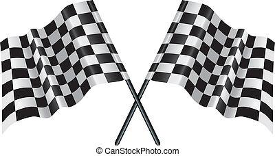 モーター, 競争, checkered, chequered, 旗
