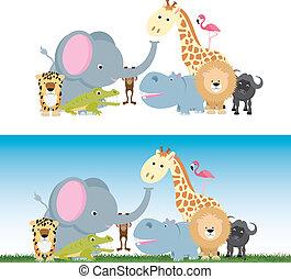 cute cartoon jungle safari animal set