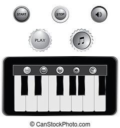 鑰匙, 鋼琴, 矢量