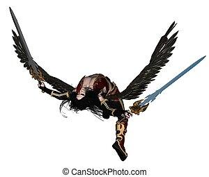 Fallen Angel - - Fallen Angel holding two swords, 3d...