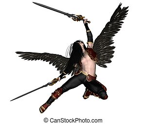 Fallen Angel - - Fallen Angel holding two swords, 3d...
