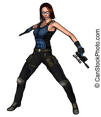 Female Sci-Fi Mercenary - 1 - Futuristic female mercenary,...