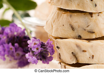 Handmade Soap With Fresh Lavender Flowers And Bath Salt