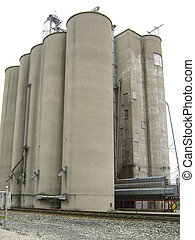 Grain Elevator - A photograph of a large grain elevator...