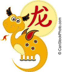 Funny Chinese zodiac. Dragon - Cute applique dragon for...
