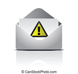 attention email warning sign illustration design over white