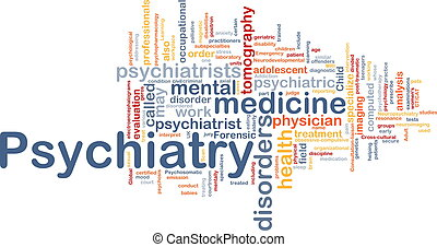 Psychiatry background concept - Background concept wordcloud...