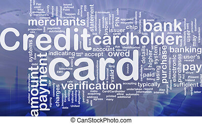 Credit card word cloud - Word cloud concept illustration of...