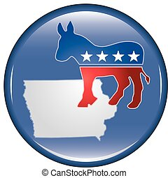 Democrat Iowa Button - Illustration of a United States...