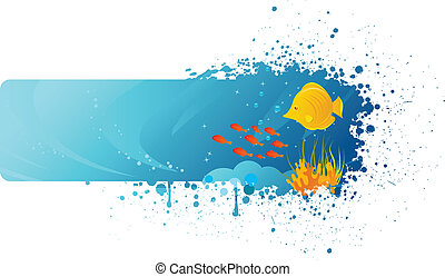 Grunge underwater banner with yellow fish