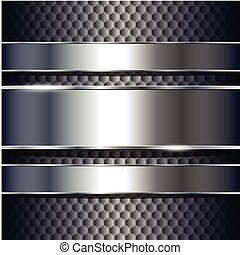 Abstract background, metallic silver banners, vector