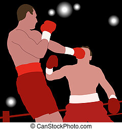 Boxing champion - Silhouettes of two boxers on ring. Boxing...