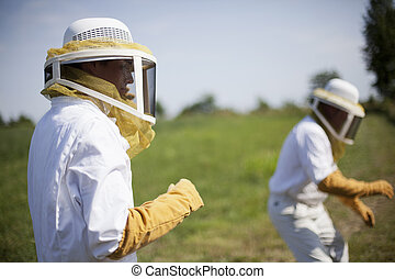Bee Keepers - Two bee keepers dressed in protective suits...