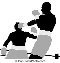 Two boxers on ring - Boxing champion. Silhouettes of two...