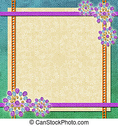 background   in scrapbook style in beige, cyan, orange, violet