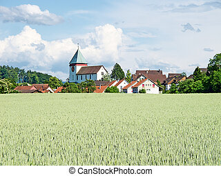 Swiss summer rural landscape
