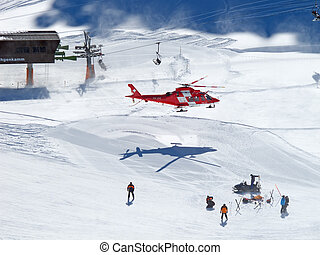 rescue helicopter - FLUMSERBERG - MARCH 5: The rescue...