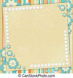 Kids card  in scrapbook style in beige, cyan, orange