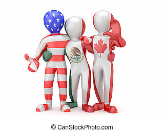NAFTA People in color of national flag - NAFTA People in...