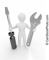 Men with wrench and screwdriver. 3d - Men with wrench and...