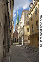 Old buildings, cobblestone pavemen - The narrow streets of...