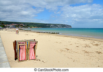 Swanage Beach, Dorset, at the start of the holiday season....