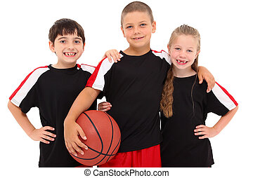 Young Boy and Girl Child Basketball Team - Portrait young...