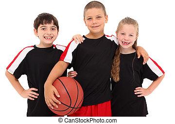 jovem, Menino, menina, criança, basquetebol, equipe