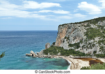 cliffs at idylic beach coast hiliday paradise