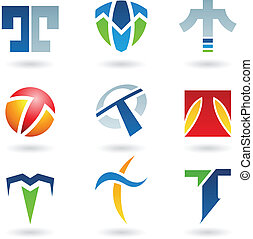 Abstract icons for letter T - Vector illustration of...