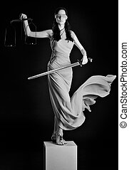 Themis - Statue of justice. Blind Woman with scale and...