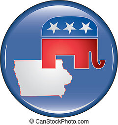 Republican Iowa Button