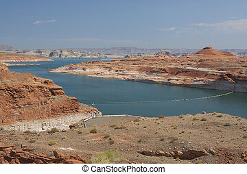 Scenic Lake Powell - a scenic view of lake powell from near...