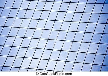 parede, muitos, arranha-céu, janelas, vidro