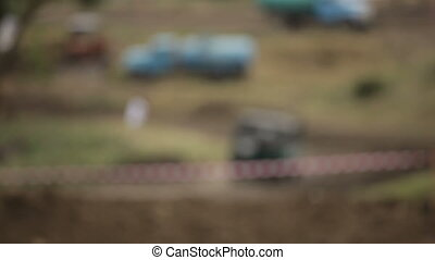 Blurred landscape of race track - Racing without rules on...