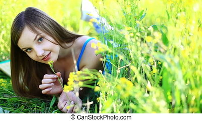 Beautiful teen in grass.