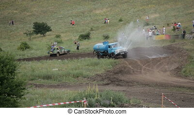 Specialized equipment - Truck moves along the track and...