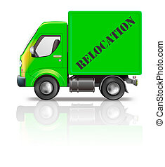 relocation truck - moving truck relocation isolated on white...